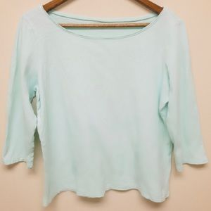 Eileen Fisher Light Teal 3/4 Sleeve Cotton Top